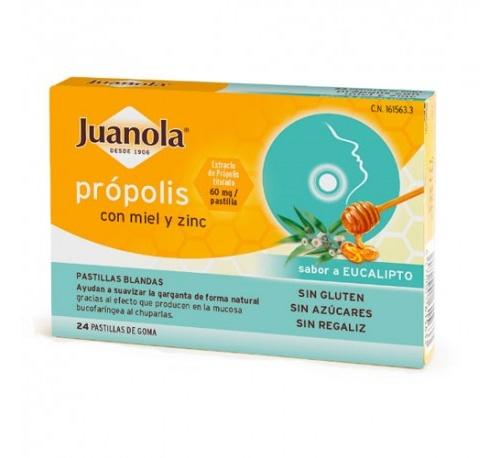 Juanola propolis miel y zinc  pastillas de goma (eucalipto 24 past)